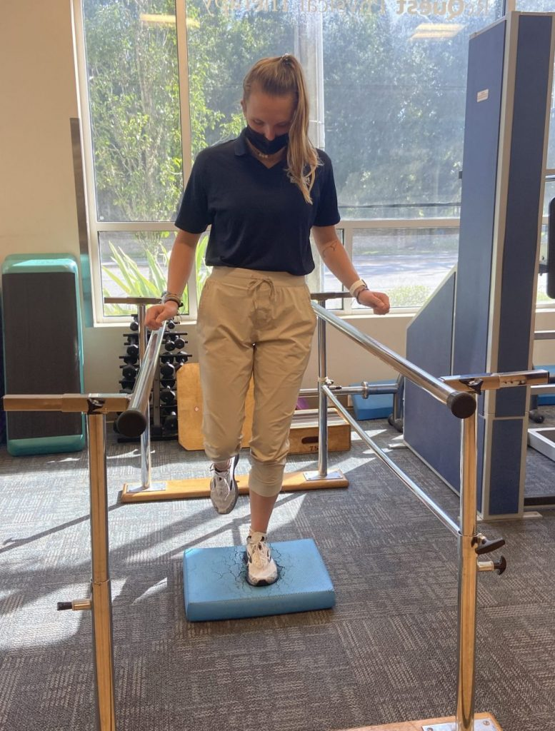 woman doing balance exercise ehlers danlos syndrome EDS